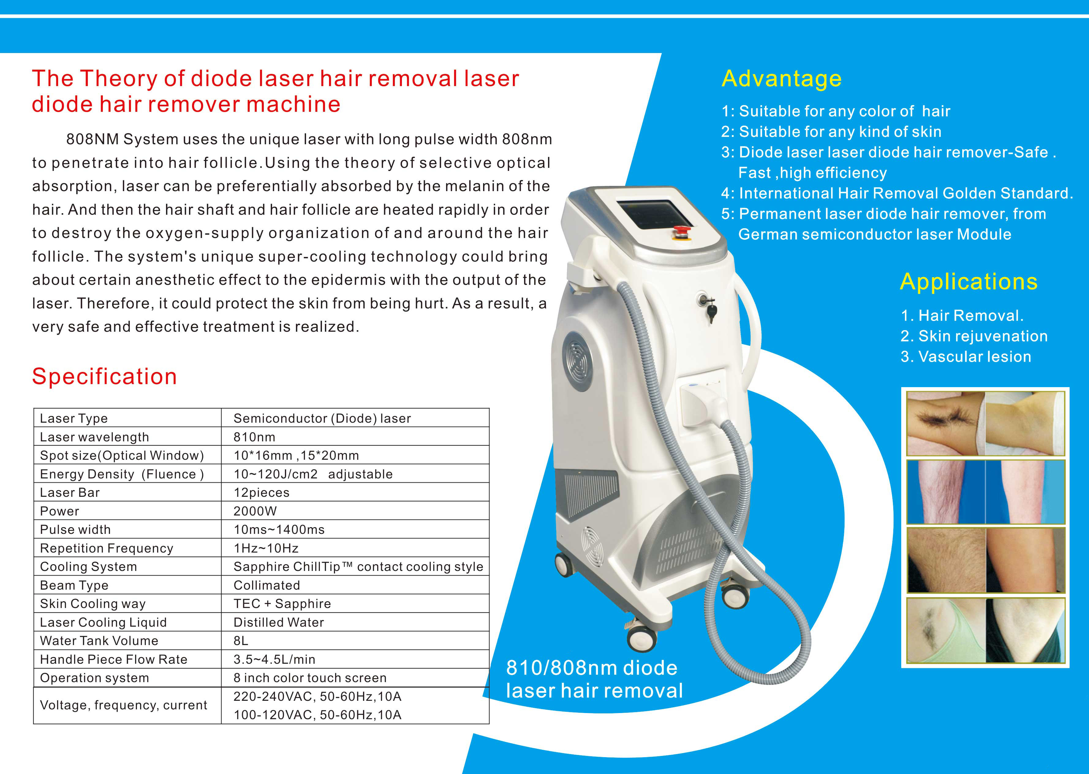 Professional 808nm Diode Pain Free Laser Hair Removal Machines 1-120j / Cm2